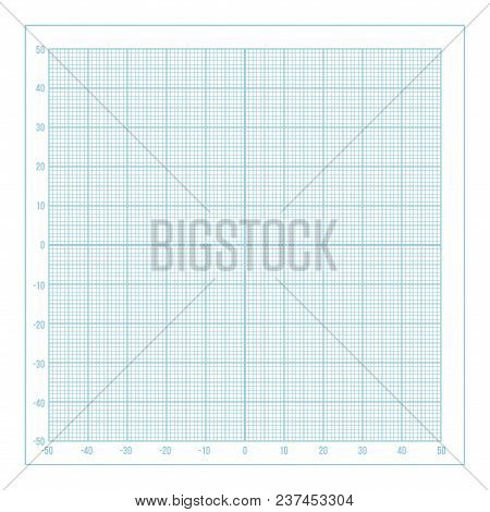 Vector Blue Metric Graph Paper With Coordinate Axis, 1mm Grid Accented Every 10 Millimeters