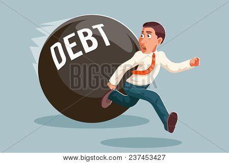 Run Away Businessman Debt Escape Attempt Stress Scared Cartoon Character Vector Illustration