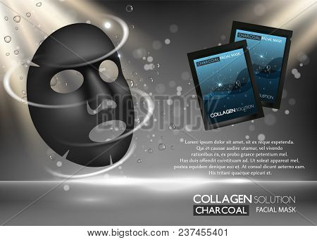 Charcoal Facial Mask Ad. Vector Realistic Background With Black Facial Sheet Mask, Sachet Mockups, C