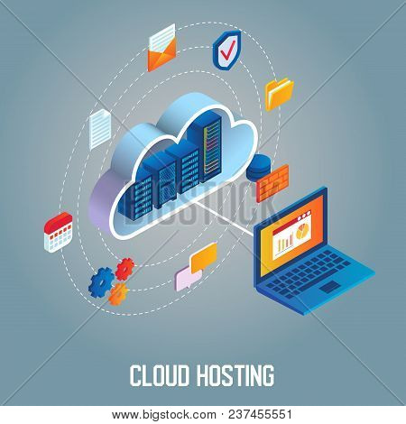 Cloud Hosting Flowchart Vector Isometric Illustration. Data Center With Hosting Server Racks In Clou