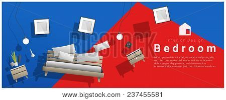 Horizontal Interior Banner Sale With Bedroom Furniture Hovering On Colorful Background , Vector , Il