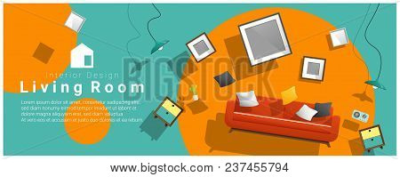 Horizontal Interior Banner Sale With Living Room Furniture Hovering On Colorful Background , Vector