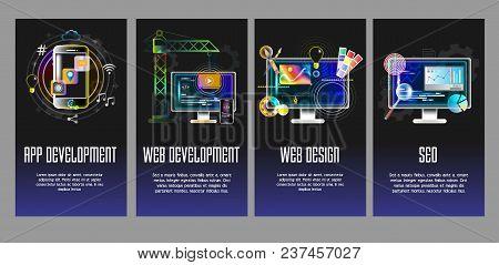 App Development, Web Development, Web Design And Seo Concept Design Templates. Vector Illustration F