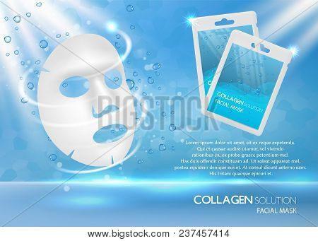 Facial Mask Ad. Vector Realistic Background With Facial Sheet Mask, Sachet Mockups And Copy Space. C