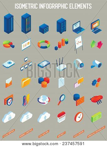 Data Center Vector Isometric Infographic Elements. Cloud Service, Energy Control, File Hosting, Secu