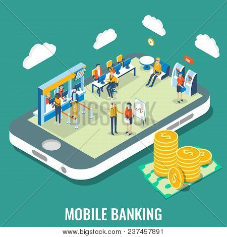 Mobile Banking Vector Flat 3d Isometric Illustration. Bank Employees And Customers On Smartphone Scr