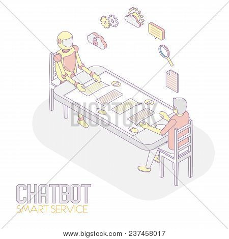 Mobile Chatbot Concept. Vector Isometric Illustration Of Man Chatting With Robot Internet Bot While
