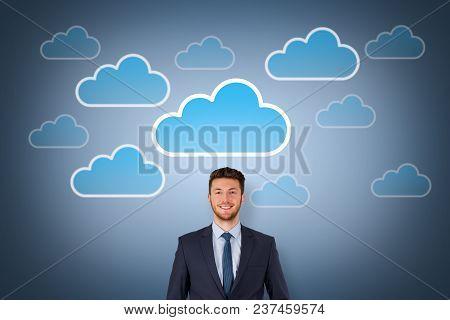 Cloud Computing Concept On Over Human Head Visual Screen