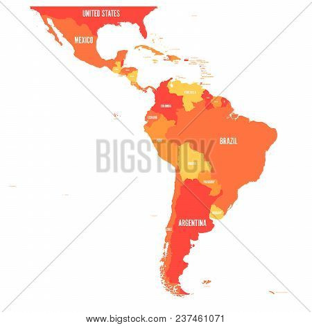 Map Of Latin America. Vector Illustration In Shades Of Orange.