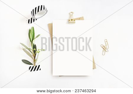 Feminine Stationery, Desktop Mock-up Scene. Blank Greeting Card, Craft Envelope, Washi Tape And Gold