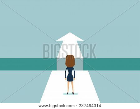 Business Challenge Or Obstacle Vector Concept With Businesswoman Standing On The Edge Of Gap, Chasm