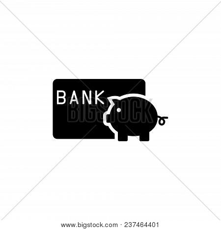Save Money Piggy Bank With Credit Card. Flat Vector Icon. Simple Black Symbol On White Background