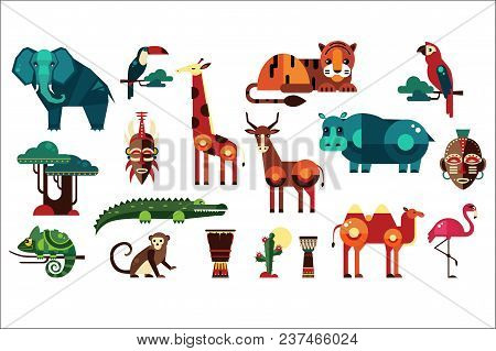 Colorful Collection Of Different African Animals, Plants And Drums. Wild Creatures Of Jungle. Birds