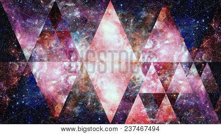Universe, Nebula, Galaxy And The Sacred Geometry Collage. Abstract Outer Space. Elements Of This Ima