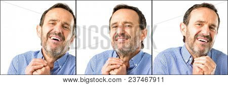 Middle age handsome man closeup confident and happy with a big natural smile in love