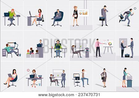 Set With Businessmen And Businesswomen. Young Men And Women At Workplaces. Business People Doing The