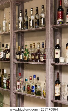 Ufa, Russia January 14, 2018: Bottles With Alcohol On The Shelves In The Bar