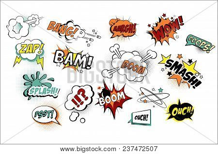 Collection of speech bubbles in pop art style with text. Various sound replicas Bang, Oops, Boom, Zap. Cartoon design elements for comics book or mobile game. Vector illustration isolated on white. poster