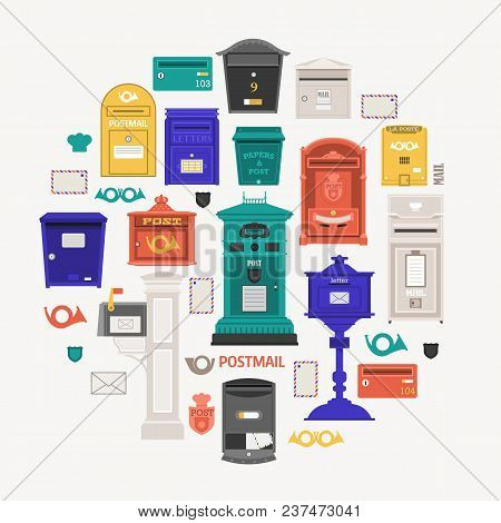 Retro Post Office Card With Vertical Pillar Letter-box, Public Wall Letterboxes And Mail Posts With