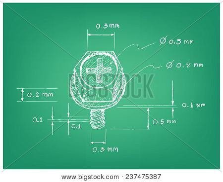 Manufacturing And Industry, Illustration Hand Drawn Sketch Dimension Of Cross Recessed Countersunk H