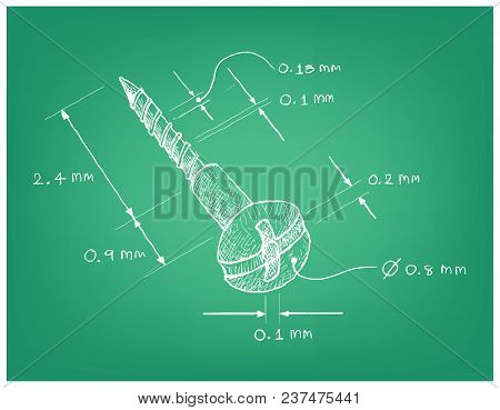 Manufacturing And Industry, Illustration Hand Drawn Sketch Dimension Of Pan Head Phillips Self Tappi