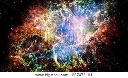 Giant Glowing Nebula. Space Background With Red Nebula And Stars. Elements Of This Image Furnished B