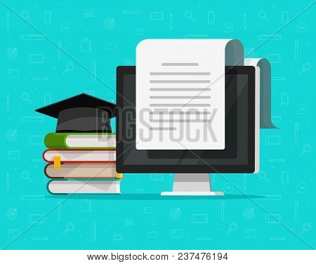 Books Near Computer Vector Illustration, Flat Cartoon Study Concept And Text Document On Pc Screen R