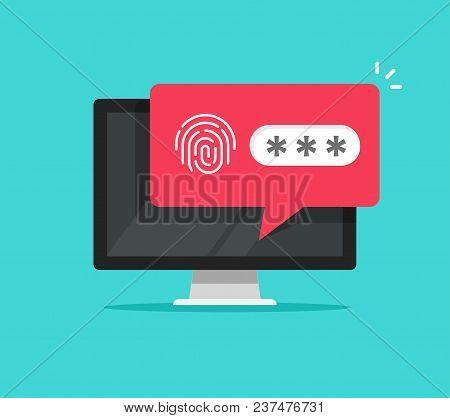 Desktop Computer With Unlocked Via Fingerprint Password Bubble Notification, Flat Cartoon Design Or