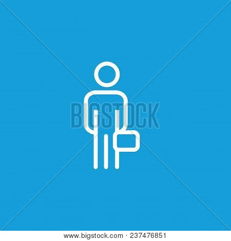 Icon Of Man Holding Briefcase. Suitcase, Businessman, Traveler. Portfolio Concept. Can Be Used For T