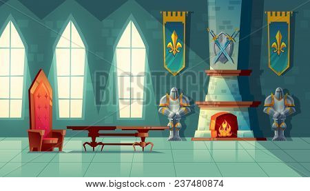 Vector Castle Hall, Interior Of Royal Ballroom With Throne, Table, Fireplace And Knight Armor. Luxur