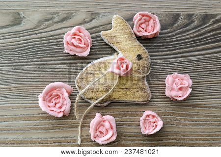 Culinary Product. Cookies Baked In The Form Of An Easter Bunny Decorated With Edible Roses