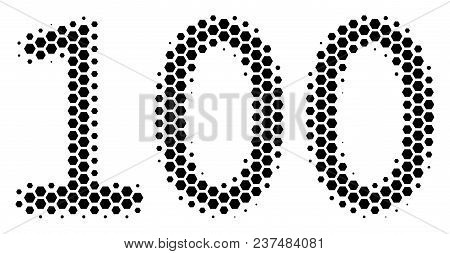 Halftone Hexagonal 100 Text Icon. Pictogram On A White Background. Vector Mosaic Of 100 Text Icon Cr