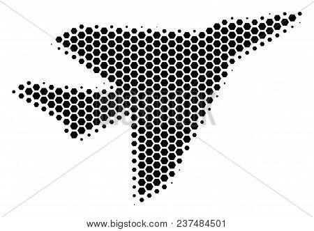Halftone Hexagonal Airplane Intercepter Icon. Pictogram On A White Background. Vector Pattern Of Air