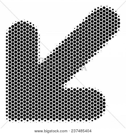 Halftone Hexagonal Arrow Down Left Icon. Pictogram On A White Background. Vector Concept Of Arrow Do