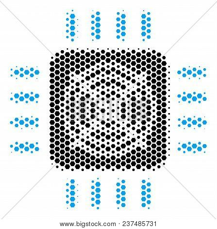 Halftone Hexagonal Asic Processor Icon. Pictogram On A White Background. Vector Concept Of Asic Proc