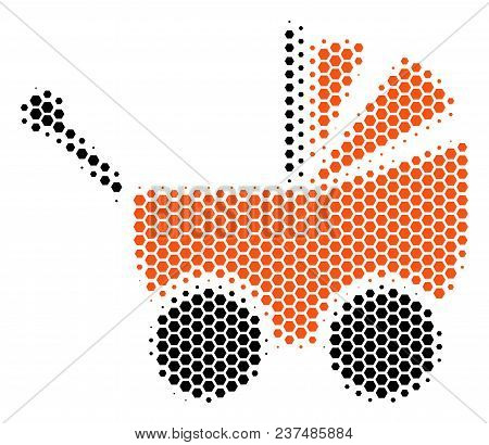 Halftone Hexagonal Baby Carriage Icon. Pictogram On A White Background. Vector Collage Of Baby Carri