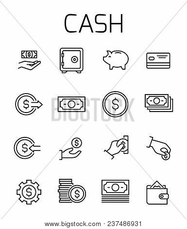Cash Related Vector Icon Set. Well-crafted Sign In Thin Line Style With Editable Stroke. Vector Symb