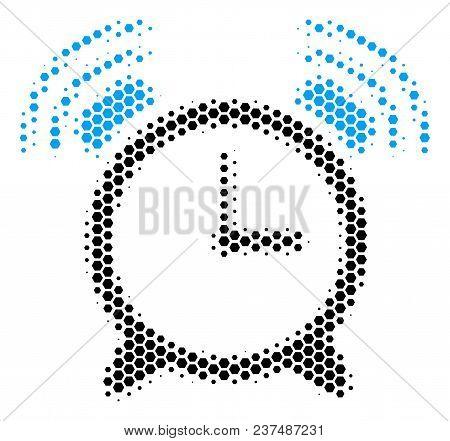 Halftone Hexagonal Buzzer Icon. Pictogram On A White Background. Vector Pattern Of Buzzer Icon Compo