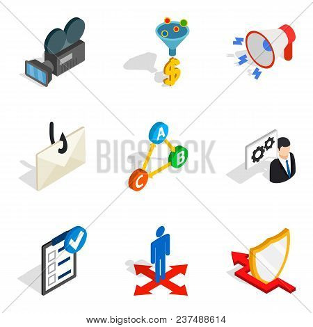 World Wide Web Icons Set. Isometric Set Of 9 World Wide Web Vector Icons For Web Isolated On White B