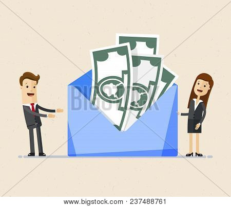 Business Man And Woman Stands Near Big Envelope With Money. Concept Of A Salary, Bonus, Payout, Wage