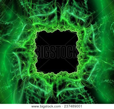 Square Fantastic Abstract Frame, Place For Text. Fantasy Shiny Green Pattern 3d Frame. Abstract Blac