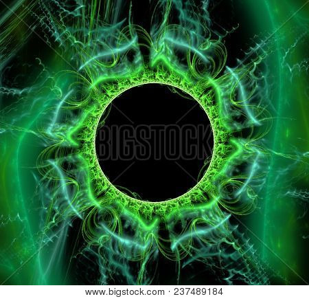 Round Fantastic Abstract Frame, Place For Text. Fantasy Shiny Green Circle Pattern 3d Frame. Abstrac