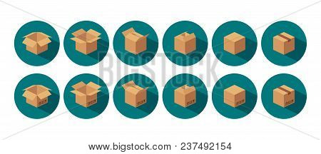 Open And Closed Recycle Brown Carton Delivery Packaging Box With Fragile Signs. For Web, Icon, Banne