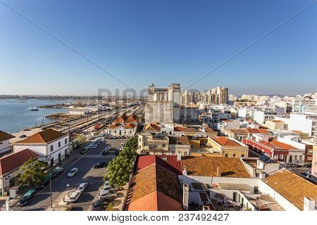 View From The Sky Street Of A Railway Station In The City Of Faro