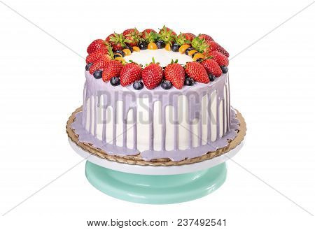 Delicious Fruit Cake Made With Strawberries And Berries. On Birthday