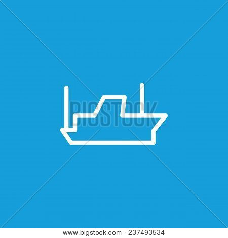 Line Icon Of Ship. Steamboat, Motor Ship, Harbor. Transport Concept. Can Be Used For Topics Like Tra