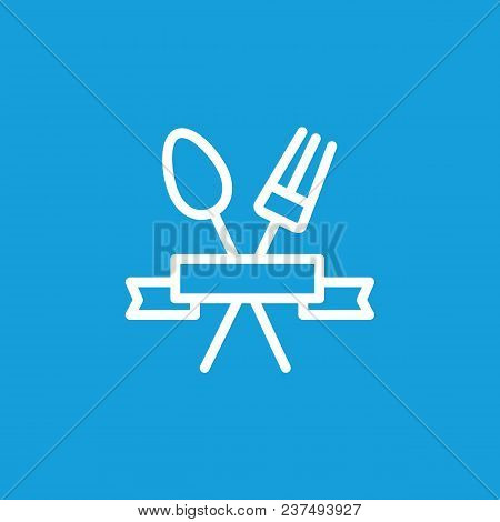 Icon Of Crossed Spoon And Fork. Serving, Ribbon, Logo. Restaurant Concept. Can Be Used For Topics Li