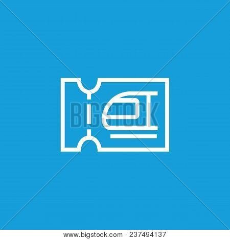 Line Icon Of Suburban Train Ticket. Ticket Control, Railway Ticket Office, Tram Pass. Transport And