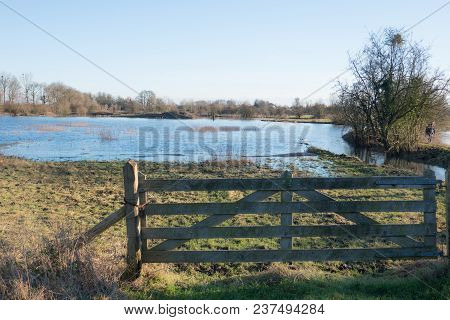 Fence At The Overflow Bank Of The Rhine Near Wageningen On A Sunny Cold Winter Day In January