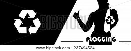 Plogging Concept. A Female Silhouette With Big Thumbs Up And A Recycle Symbol. Fitness Tracker On He
